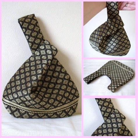 pattern japanese knot bag black gold silk japanese knot bag wristlet upcycled