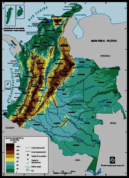 physical map of colombia a small trip through regions of