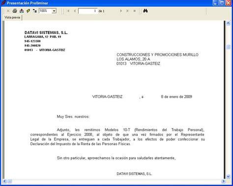 carta para envio de muestras emisi 243 n carta de env 237 o modelo 10 t