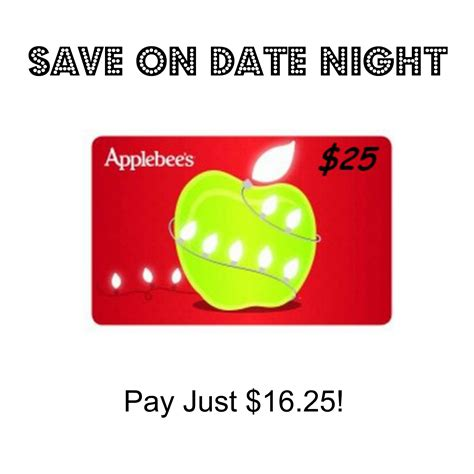 Applebees Gift Card Amount - save on date night 25 applebee s gift card just 16 25