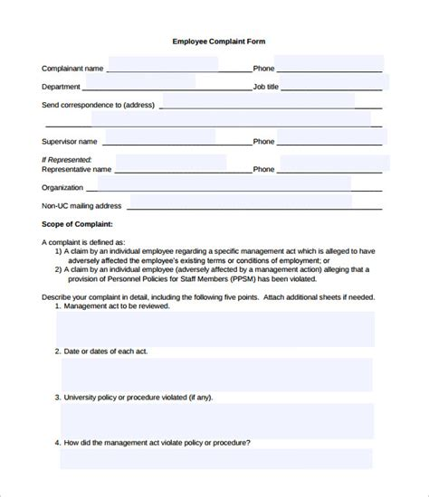 complaint card template disciplinary and grievance procedures template images