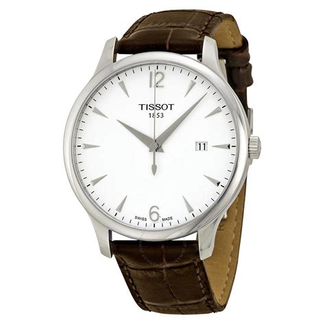 tissot t classic tradition silver brown leather s