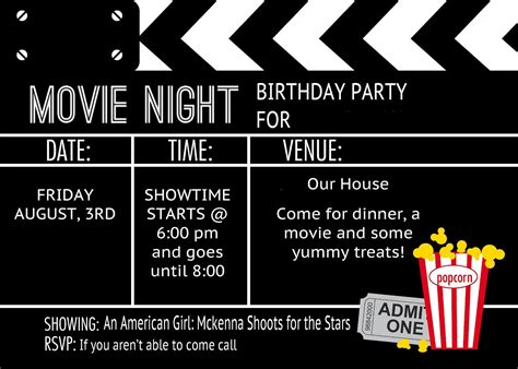 movie night party invitation birthday party invitation templates movie theme movie