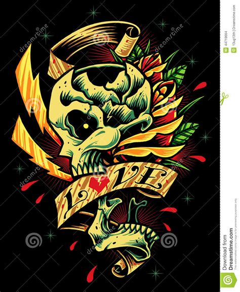 skull roses and ribbon stock vector image 44719664
