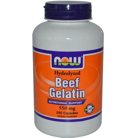 Geletin Detox by Now Foods Beef Gelatin 550 Mg 200 Capsules Iherb