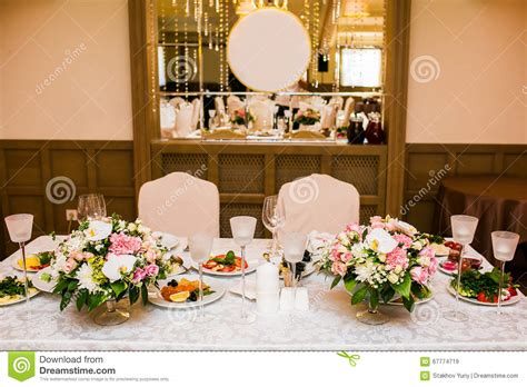 banquet table decorations photos wedding table decorations on banquet with flowers stock