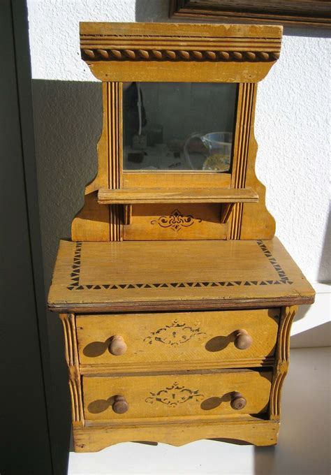 Antique Dresser With Mirror by Stenciled Oak Antique Doll Dresser With Mirror From Sondrakruegerantiques On Ruby