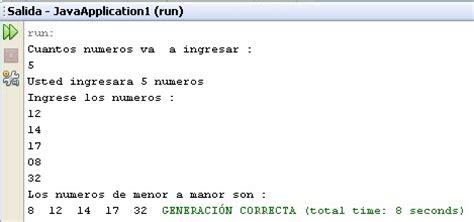 ordenamiento de cadenas en java ejemplos de java ordenar numeros de menor a mayor
