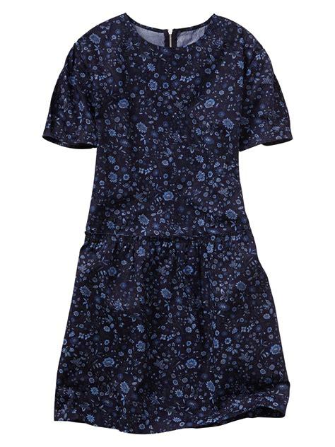 Gap Dress gap floral drop waist dress in blue small blue floral lyst