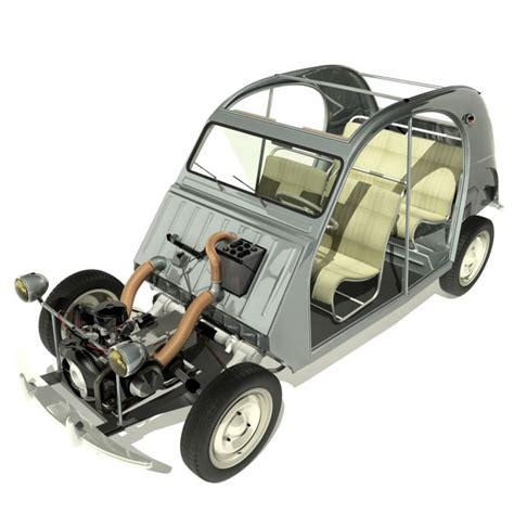Citroen Car Models by 1958 Citroen 2cv 3d Model Max Cgtrader