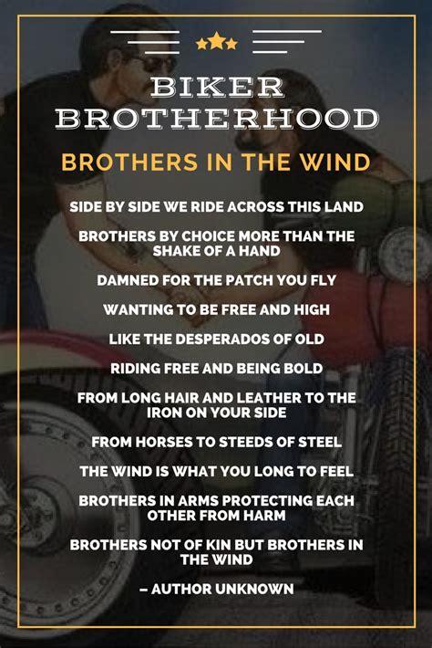 brotherhood in brothers in the wind the biker brotherhood poem