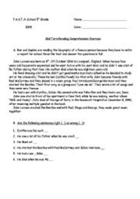 john lennon biography worksheet english worksheets john lennon 180 s short biography