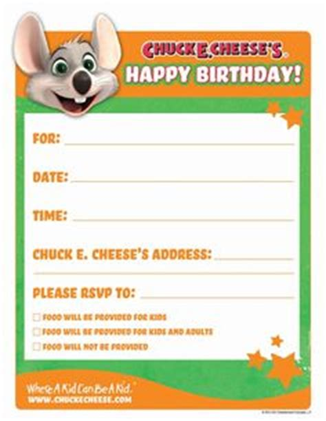 Chuck E Cheese Gift Card Online - 1000 images about chunk e cheese party on pinterest printable birthday invitations