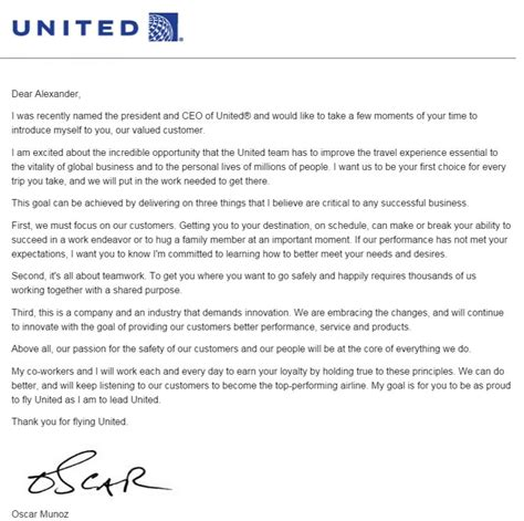 my response to united ceo munoz s letter to me