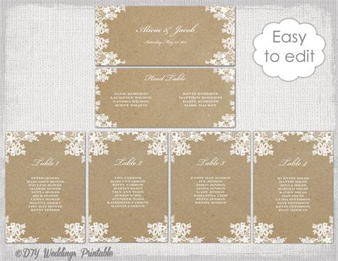 table plan templates seating chart template rustic lace printable