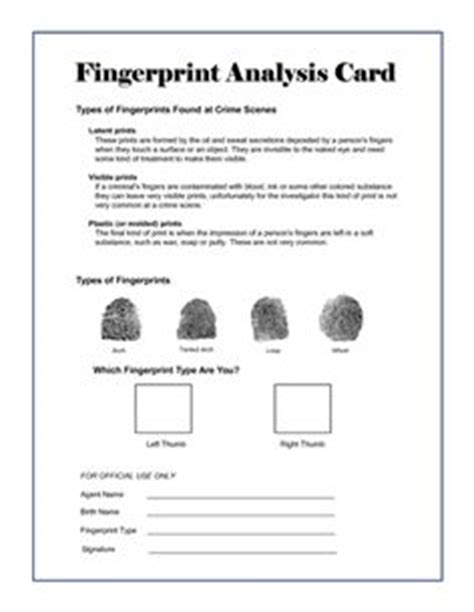 fingerprinting card template 1000 images about forensics lesson planning on