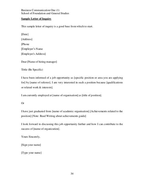 Cover Letter For General Inquiry Business Communication Course Notes Topic 2 210613 024417