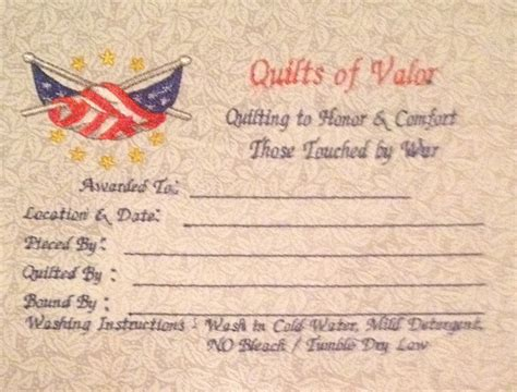 Quilt Of Valor Label by Quilts For Memes