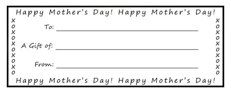 free printable gift certificates for mother s day printable gift certificates for mom