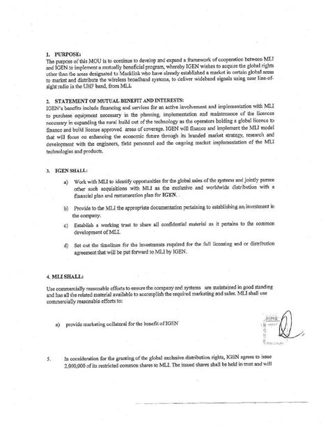 Letter Of Agreement Vs Memorandum Of Understanding Letter Of Understanding Form Free Printable Documents