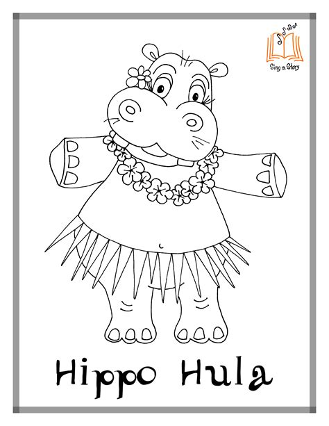 Hippo Hula Coloring Pages! - Sing A Story