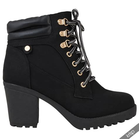 heeled boots womens chunky block high heel worker ankle boots cleated