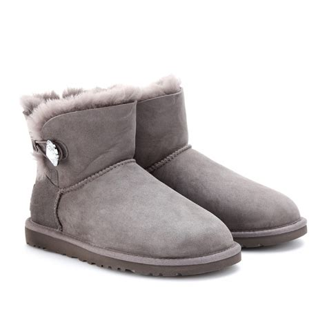 grey ugg boots for ugg mini bailey bling boots in gray grey lyst