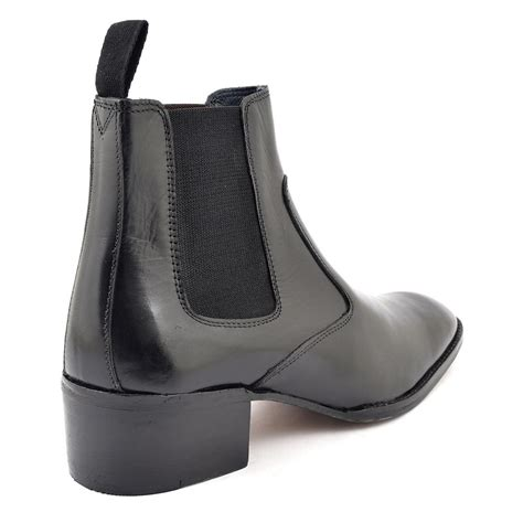 find mens black cuban heel chelsea boot gucinari