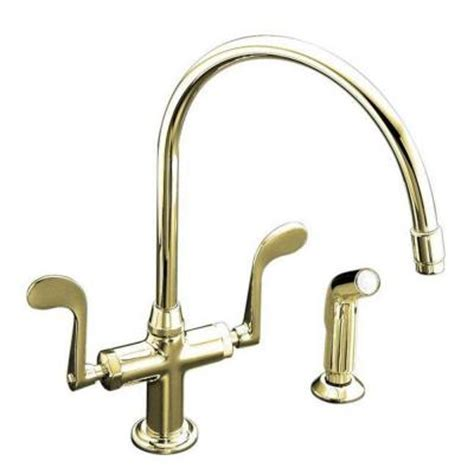 kohler essex kitchen faucet kohler essex single 2 handle standard kitchen faucet in vibrant polished brass k 8763 pb