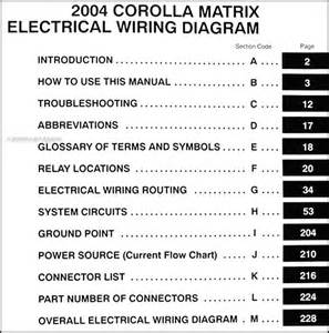 2004 toyota corolla matrix wiring diagram manual original