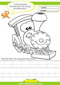 Kids under 7 alphabet worksheets trace and print letter t