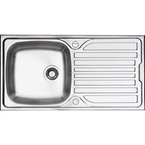 Single Bowl Kitchen Sink With Drainer Stainless Steel Single Bowl Kitchen Sink Drainer 965 X 500 X 165mm Toolstation