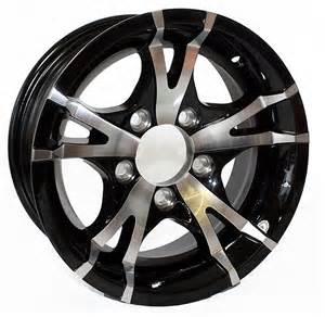 Black Aluminum Truck Wheels 15 Inch Viper Black Machined Aluminum 5 Bolt Trailer