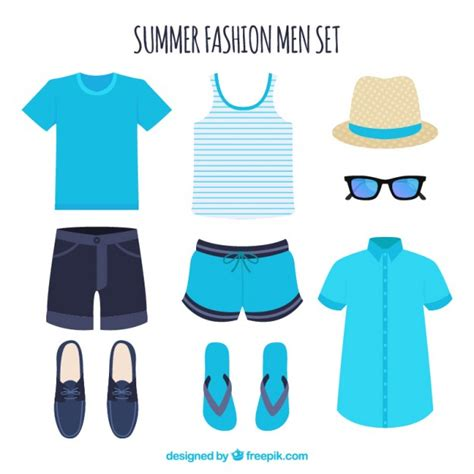set of summer clothes for vector free