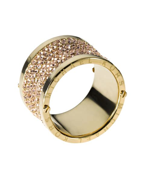 Michael Kors Ring by Michael Kors Pave Barrel Ring In Gold 6 Lyst