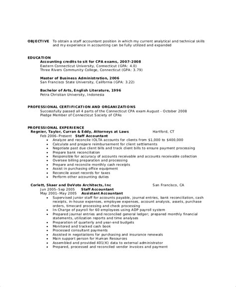 resume format for experienced candidates in accounts 40 sle objectives sle templates