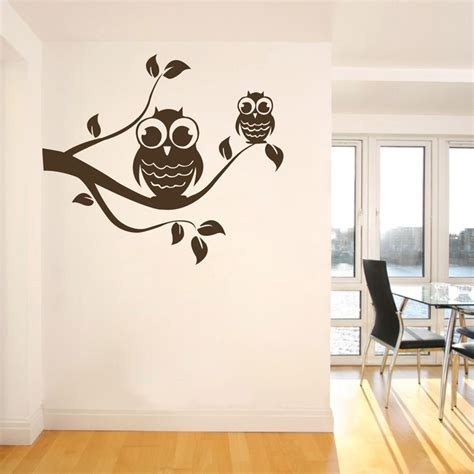 wall adhesive stickers tree branch owl wall sticker lovely owls vinyl stickers
