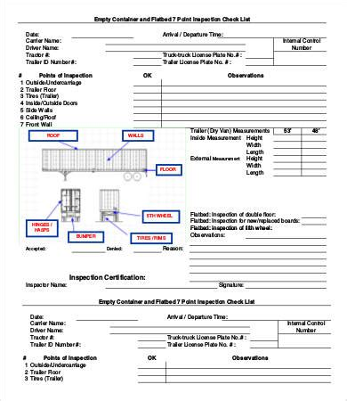 truck checklist template inspection checklist template 9 free word pdf