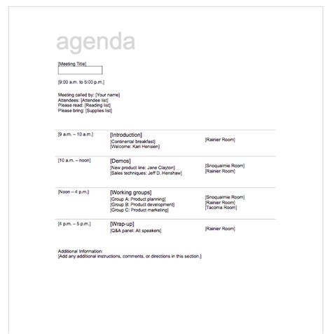 5 free meeting agenda template top form templates