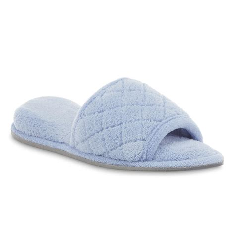 quilted slippers dearfoams s blue quilted scuff slipper