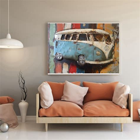 home decor drop shipping gift vw volkswagen van oil painting canvas print vintage car wall art for office home decor