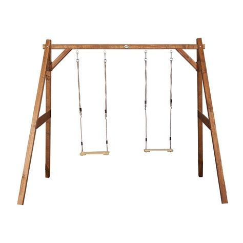 wooden double swing set suffolk natural wooden kids double swing set