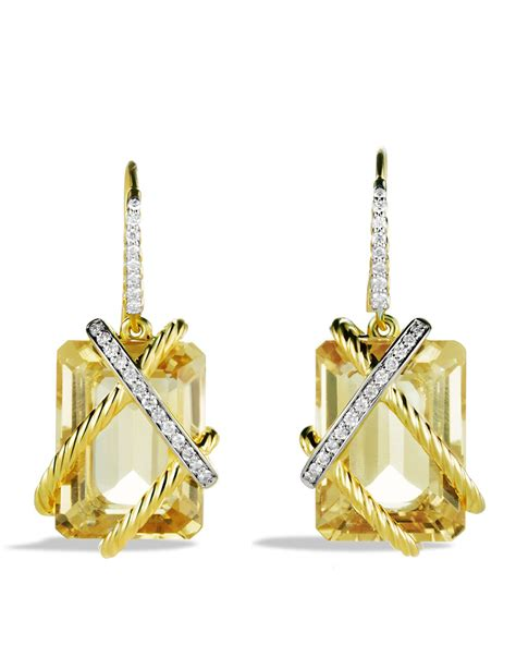 david yurman cable wrap drop earrings with chagne