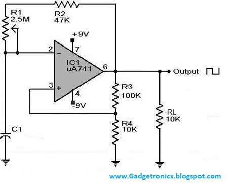 voltage across capacitor in astable multivibrator square wave generator using ic741 gadgetronicx