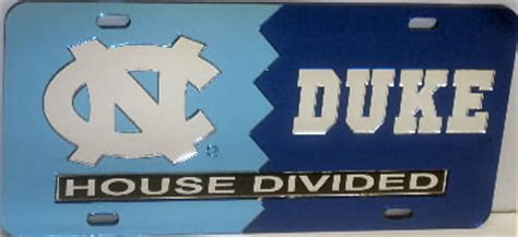 unc duke house divided laser mirror license plate in team colors