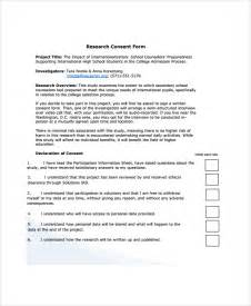 Consent Form Template by Sle Research Consent Form 8 Free Documents