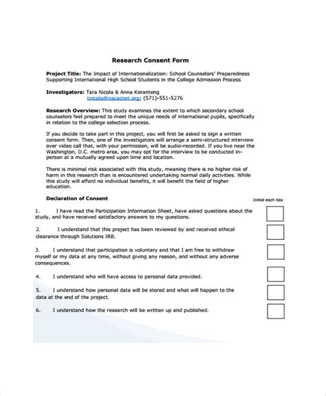 Exle Letter Of Consent Research Sle Research Consent Form 8 Free Documents In Pdf Word