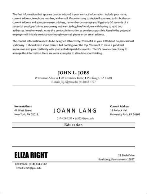 Resume Contact Information by Resume Contact Information Resume Ideas
