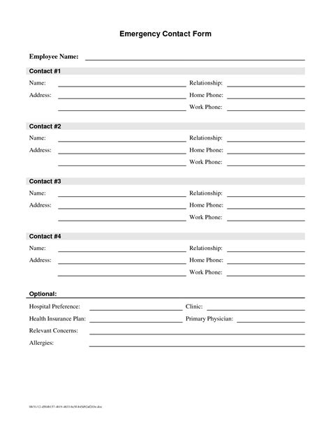 employee contact form 7 best images of emergency contact printable form