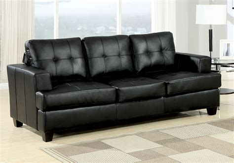 Bonded Leather Sofa Bed by Platinum Sofa Bed 3 Seater Pull Out Sleeper Tufted Black Bonded Leather